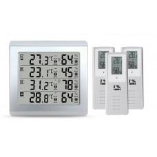 trådløs indendørs og udendørs med tre temperatur- og luftfugtighedsoptagelsessensorer