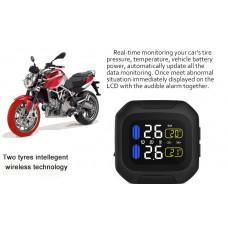 Motorcykel Dæktryksovervågningssystem TPMS Trådløs LCD-skærm