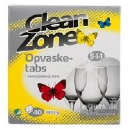 Opvasketabs clean zone 5i1 40stk