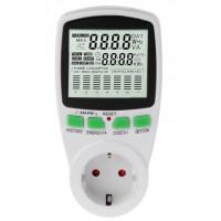 Wattmeter AC til måling af stikkontaktens el-forbrug