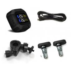 Motorcykel Dæktryksovervågningssystem TPMS Trådløs LCD-skærm Indvendige