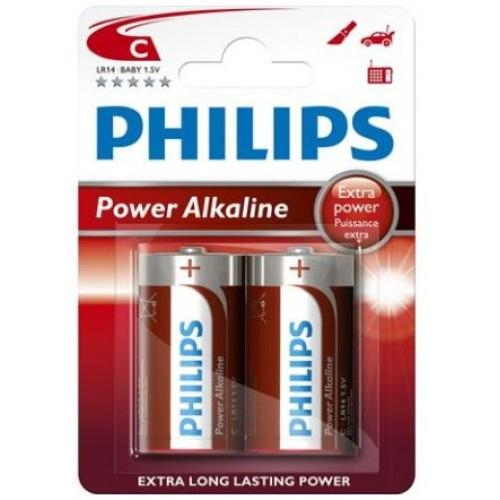 Philips Power Alkaline C Baby batterier 2 stk.